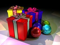 Gift boxes and christmass balls Royalty Free Stock Photos