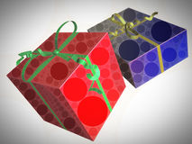 Gift boxes with a circle-shaped pattern Stock Photo