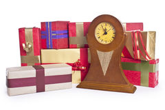 Gift boxes in clock Royalty Free Stock Photos