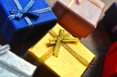 Gift boxes close-up. Colorful gift boxes close-up abstract background Stock Images