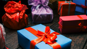 Gift boxes close up Stock Photography