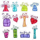 Gift boxes collection Stock Images