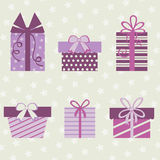 Gift boxes collection Royalty Free Stock Photos