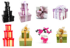 Gift Boxes Collection. Isolated on white background Stock Photos