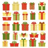 Gift boxes collection isolated on white background. Christmas and New Year`s decor. Vector illustration in cartoon. Style royalty free illustration