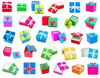 Gift boxes collection isolated on white background stock images