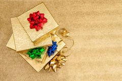 Gift boxes with color ribbon bow. Holidays decoration Stock Image