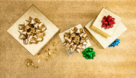 Gift boxes with colorful decorations. Holidays banner Royalty Free Stock Images