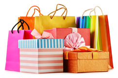 Gift boxes and colorful gift bags on white Stock Photo
