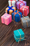 Gift boxes in a colorful package Royalty Free Stock Photography