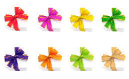 Gift boxes with colorful ribbons Stock Photo