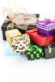 Gift boxes. Colorful gift boxes on white Stock Images