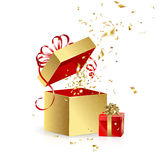 Gift boxes with confetti Royalty Free Stock Image