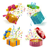 Gift Boxes And Confetti Set. Open gift boxes of different design  and fireworks from confetti 3d set  vector illustration Stock Photo