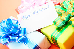 Gift Boxes. Congratulating on a birthday. Stock Images