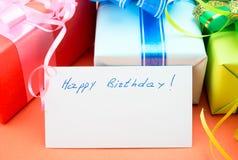 Gift Boxes. Congratulating on a birthday. Royalty Free Stock Photos