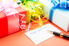 Gift Boxes. Congratulating on a birthday. Stock Photos