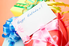Gift Boxes. Congratulating on a birthday. Royalty Free Stock Images