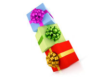 Gift boxes construction Royalty Free Stock Photos