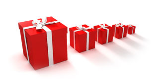 Gift boxes crescendo. 3D rendering of an alignment of presents of different sizes in red and white Stock Photos