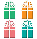 Gift boxes cutout on different backgrounds on white Stock Image
