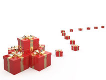 Gift boxes, 3D. Red gift boxes with ribbon, 3D Royalty Free Stock Images
