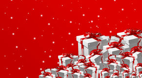 Gift boxes 3d render red. Graphic Stock Photo