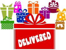 Gift boxes with DELIVERED text. Illustration image concept Royalty Free Stock Photos