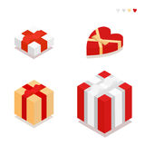 Gift Boxes different colors isolated on white background. Set of gift boxes with ribbons and bows in the style of the flat. Vector Illustration Royalty Free Stock Photo