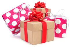 Gift boxes of different colors Stock Photography
