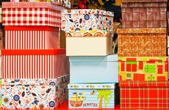 Gift boxes of different colors and sizes royalty free stock photography