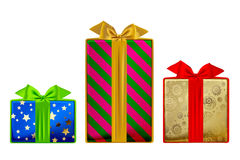 Gift boxes of different colors and sizes isolated on white Stock Images