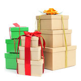 Gift boxes of different colors and sizes. Some piles of gift boxes of different colors and sizes on a white background Stock Images