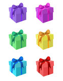 Gift boxes in different colours. Drawing of gift boxes in different colours Royalty Free Stock Image