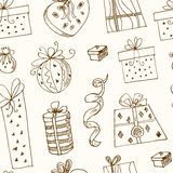 Gift boxes doodle seamless pattern.. Vintage illustration for identity, design Royalty Free Stock Photography