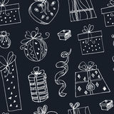 Gift boxes doodle seamless pattern.. Vintage illustration for identity, design Stock Image