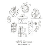 Gift boxes doodle set. Vintage illustration for identity, design Stock Photography