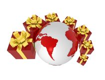 Gift boxes and earth. Red gift boxes wit golden ribbon around the earth Royalty Free Stock Photography