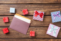 Gift boxes and envelope Royalty Free Stock Photos