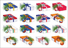 Gift boxes with european countries flags ribbons Stock Photos