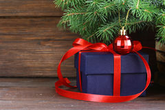Gift boxes with festive ribbons and Christmas decorations Royalty Free Stock Photos