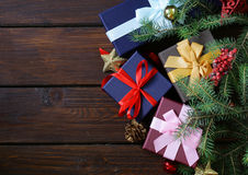 Gift boxes with festive ribbons and Christmas decorations Stock Photo