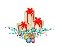Gift Boxes on Fir Twigs and Christmas Balls. Three Gift Boxes Decorated on Christmas Tree Branches and Christmas Balls or Christmas Ornaments Decorated, Perfect Stock Image