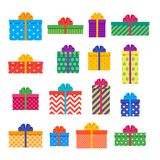 Gift boxes. Set of colorful presents. Vector illustration. Gift boxes in flat design. Wrapped presents with bows and ribbons. Vector. Set elements isolated for Royalty Free Stock Photos