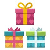 Gift boxes flat icon Stock Photos