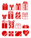 Gift boxes flat icons set. Stock Photos
