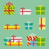 Gift Boxes Flat Presents. Set Royalty Free Stock Photo