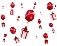 Gift boxes flying in balloons Stock Image