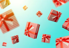 Gift boxes flying. Shopping sale concept background Stock Photography