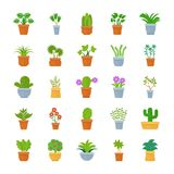 Houseplants Flat Vector Icons vector illustration
